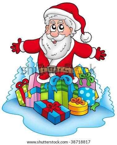 Happy Santa Claus with pile of gifts - color illustration.