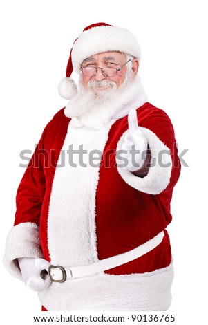 happy Santa Claus with thumb up, isolated on white background - stock photo