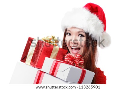 happy Santa Woman with Christmas Gift Box isolated on white background, model is a asian girl - stock photo