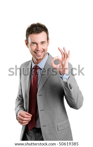 Happy satisfied business man with okay hand sign isolated on white background - stock photo
