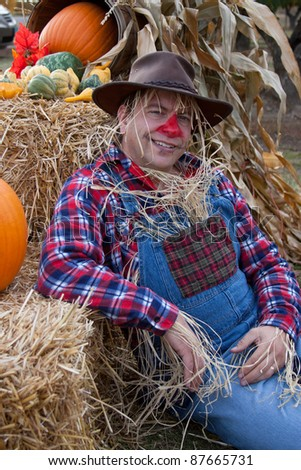 happy scarecrow - stock photo