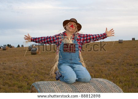 Happy Scarecrow throws arms open wide with joy while sitting on a bale of hay. - stock photo