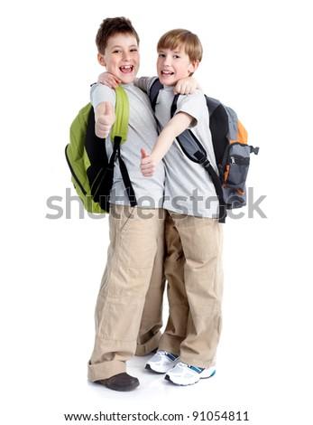 Happy school boys. Isolated on white background. - stock photo