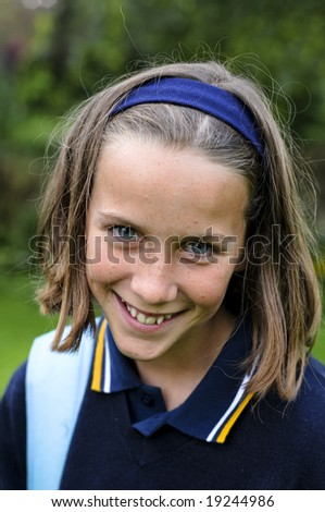 happy school girl - stock photo