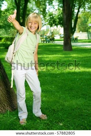 Happy School Girl Outdoor - stock photo
