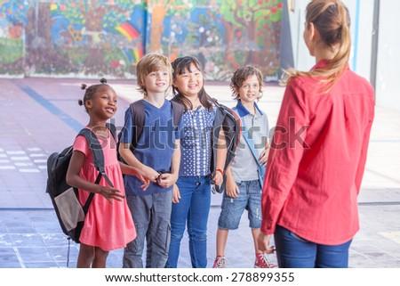 Happy school scene. Elementary class. - stock photo