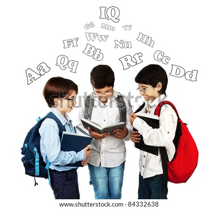 Happy schoolboys reading, back to school, holding books and talking, isolated on white background, teenage education concept - stock photo