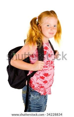 happy schoolgirl ready to go to school isolated on white - stock photo