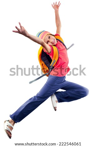 happy schoolgirl  with a backpack and exercising, running and jumping. Isolated over white background. Education childhood concept - stock photo