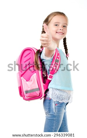 Happy schoolgirl with backpack and finger up  isolated on a white background - stock photo