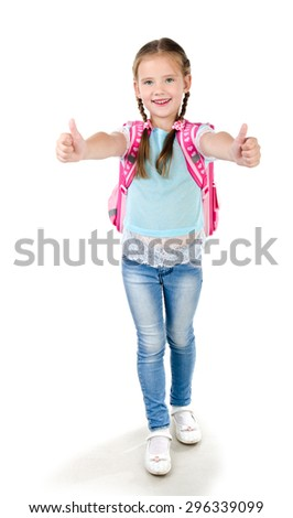 Happy schoolgirl with backpack and fingers up  isolated on a white background - stock photo