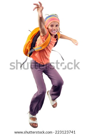 happy schoolgirl  with backpack exercising , running and jumping. Isolated over white background. Education,childhood, active lifestyle concept - stock photo