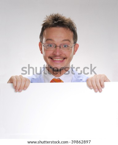 Happy scientist holding a white card. Doctor holding a white card. - stock photo