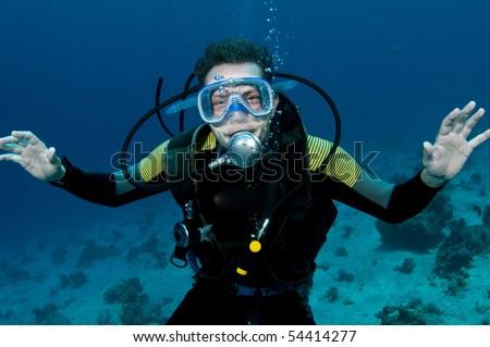 happy scuba diver - stock photo