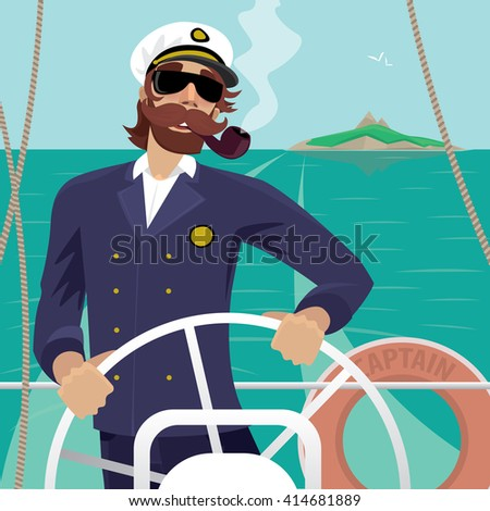 Happy sea captain looks funny with a mustache and a pipe standing on the deck of the ship and rotates ship steering wheel. Sunny weather - Profession or Sailor concept. Raster version of illustration - stock photo
