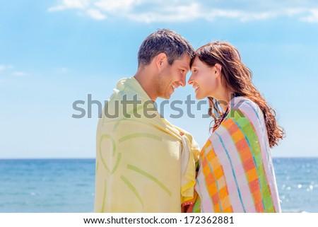 happy sea coast summer couple - stock photo