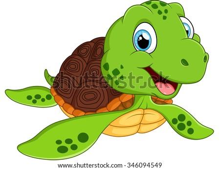 Happy sea turtle cartoon - stock photo