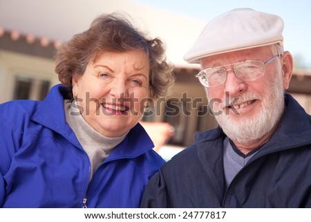 Happy Senior Adult Couple Enjoying Life Together. - stock photo
