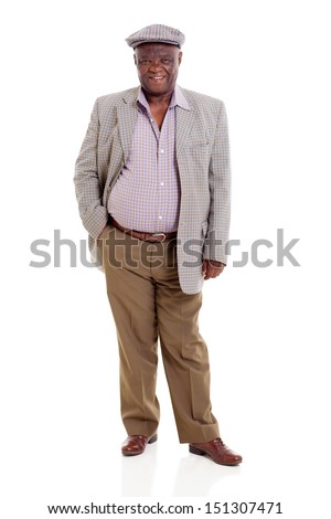 happy senior african man isolated on white - stock photo