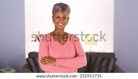 Happy Senior African Woman - stock photo