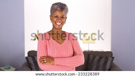 Happy Senior African Woman - stock photo