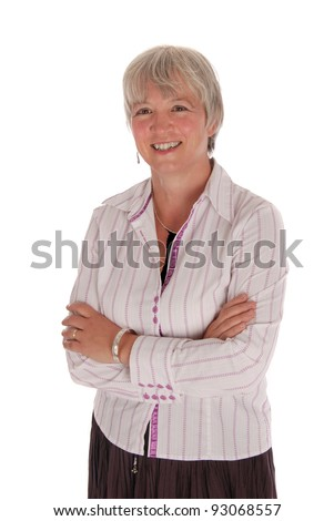 Happy Senior Business Woman with Arms Crossed on White Background