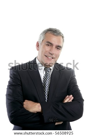happy senior businessman smiling gray hair black suit white background - stock photo