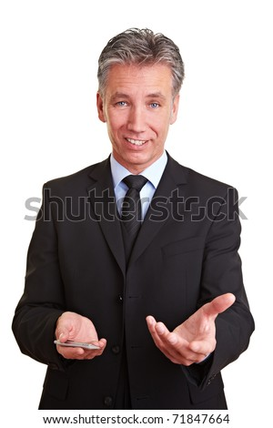 Happy Senior consultant explaining his marketing strategy - stock photo