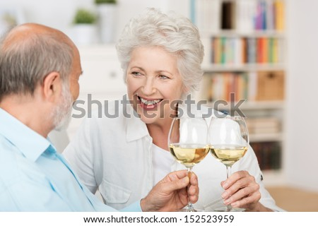 Happy senior couple celebrating clinking their glasses of white wine and smiling at each other as they sit together on a sofa indoors - stock photo