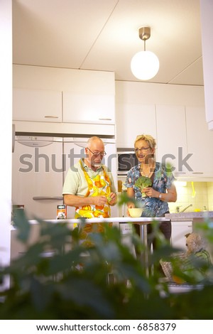 Happy senior couple cooking together at kitchen. - stock photo