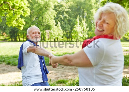 Happy senior couple dancing together in nature in summer - stock photo