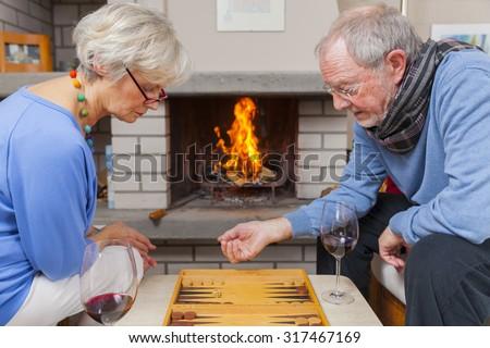 happy senior couple enjoying retirement - stock photo