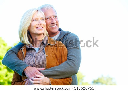 Happy senior couple having a fun together. - stock photo