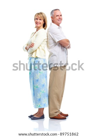 Happy senior couple  in love. Isolated on white background. - stock photo