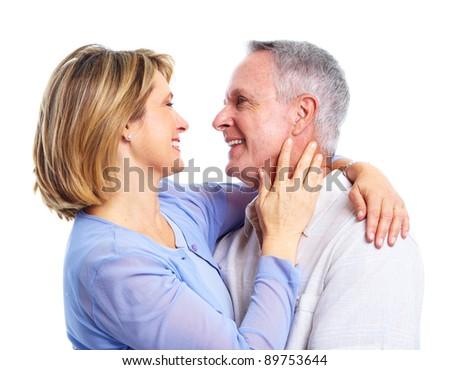 Happy senior couple  in love. Isolated on white background. - stock photo