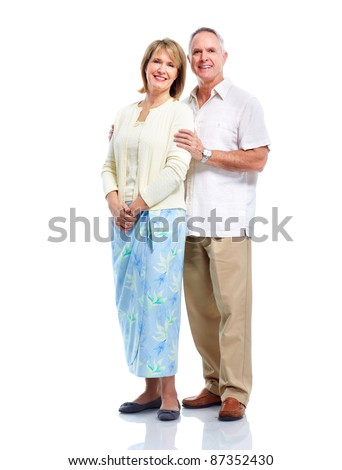 Happy senior couple in love. Isolated over white background. - stock photo