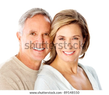 Happy senior couple in love. Over white background. - stock photo