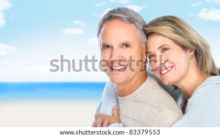 Happy senior couple in love. Summer vacation. - stock photo