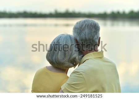 Happy senior couple in summer near lake during sunset,back view - stock photo