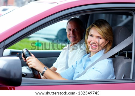 Happy senior couple in the car. Transportation. - stock photo