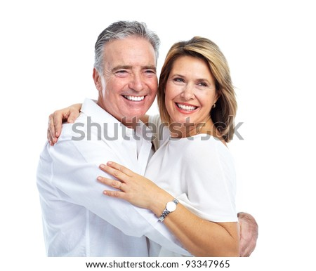 Happy senior couple. Isolated over white background. - stock photo