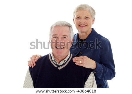 Happy senior couple on a white background - stock photo
