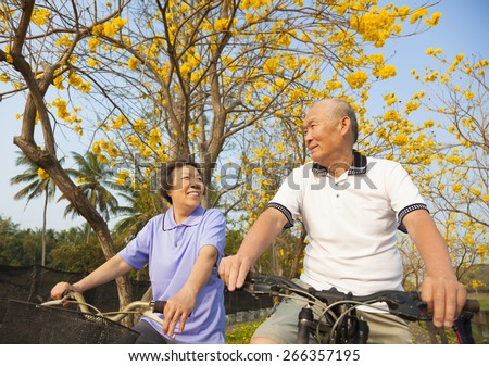 happy  senior couple riding bicycle  in the park