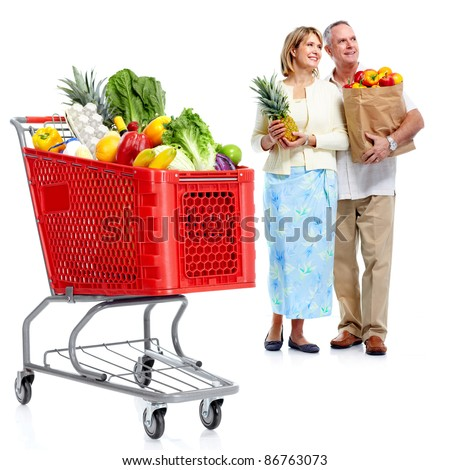 Happy senior couple shopping in supermarket grocery . Isolated over white background. - stock photo