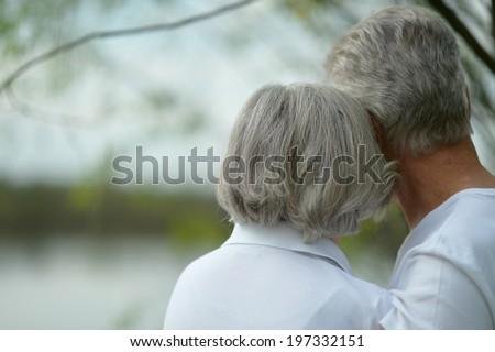 Happy senior couple sitting in summer near lake - stock photo