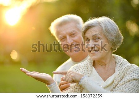 Happy senior couple standing in summer park at sunset - stock photo