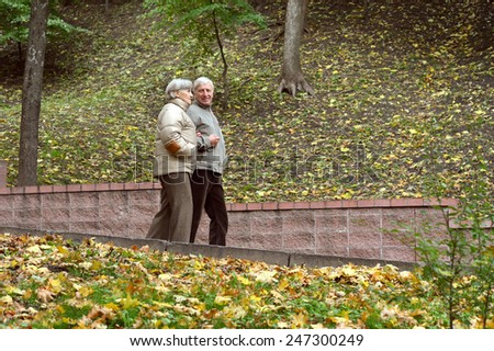 Happy senior couple walking in autumn park - stock photo