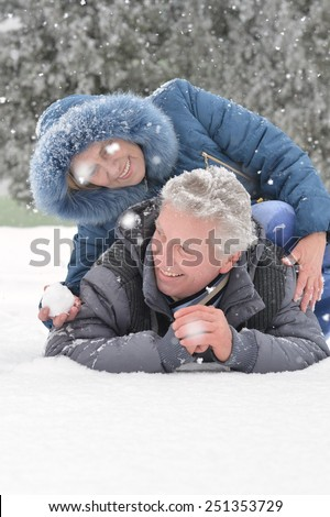 Happy senior couple walking in winter outdoors - stock photo