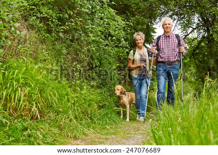 Happy senior couple walking with dog on a hiking trail - stock photo