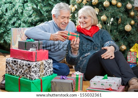 Happy senior couple with presents sitting on floor in Christmas store - stock photo